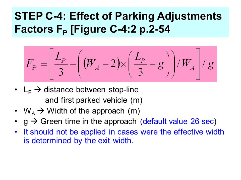 STEP C-4: Effect of Parking Adjustments Factors FP [Figure C-4:2 p